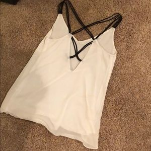 Off White Camisole with black criss cross detail